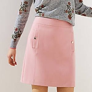 Ann Taylor LOFT Pink Shift Skirt with Gold Buttons